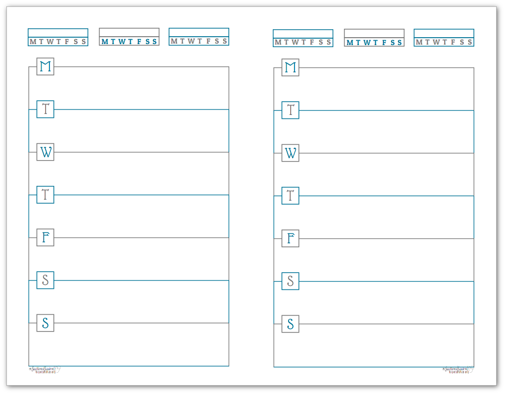 Cobalt Half-Size Monday Start Horizontal Weekly Planners