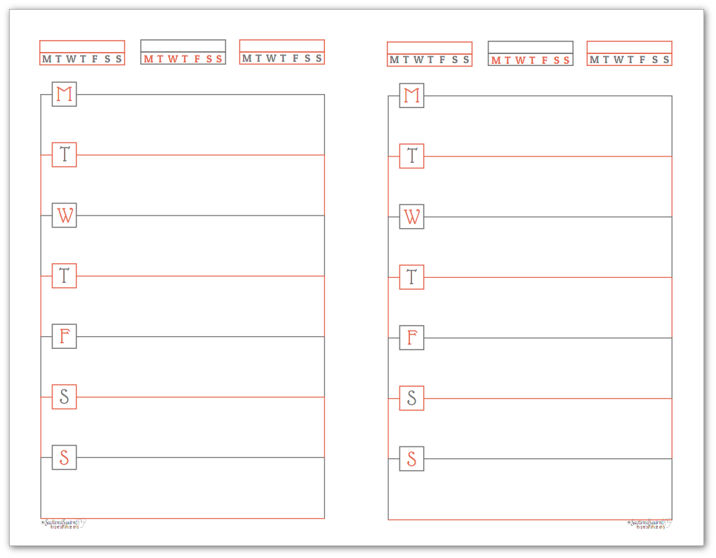 Summer Orange Half-Size Monday Start Horizontal Weekly Planners
