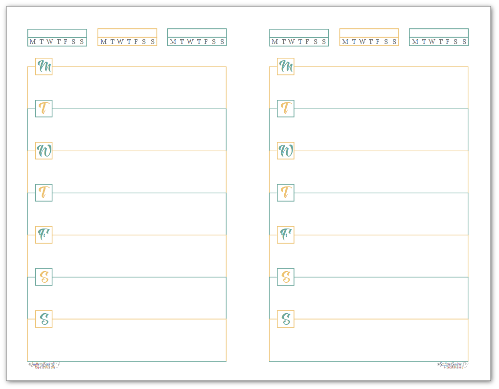 Sunshine Skies Half-Size Monday Start Horizontal Weekly Planners