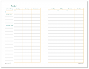 Half-Size Sunshine Skies 2 Page Weekly Planner Printable