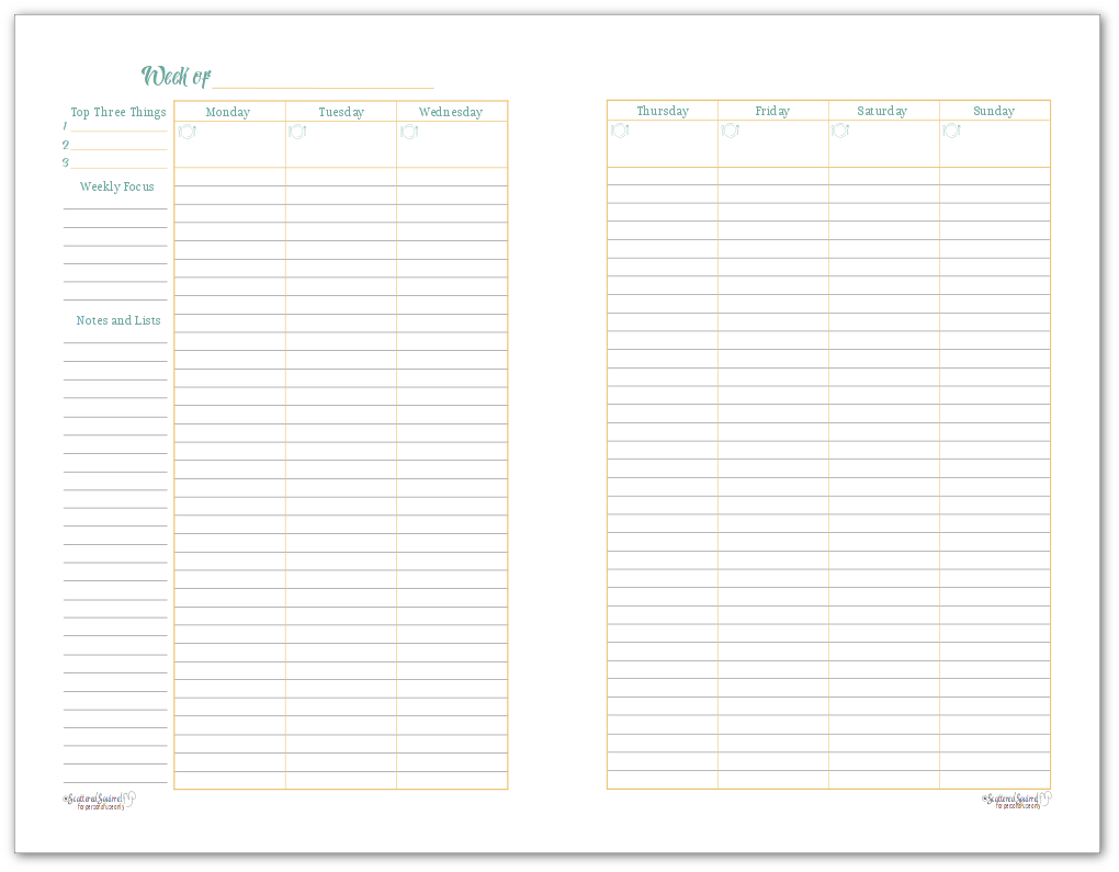 Half-Size Sunshine Skies 2 Page Weekly Planner Printable