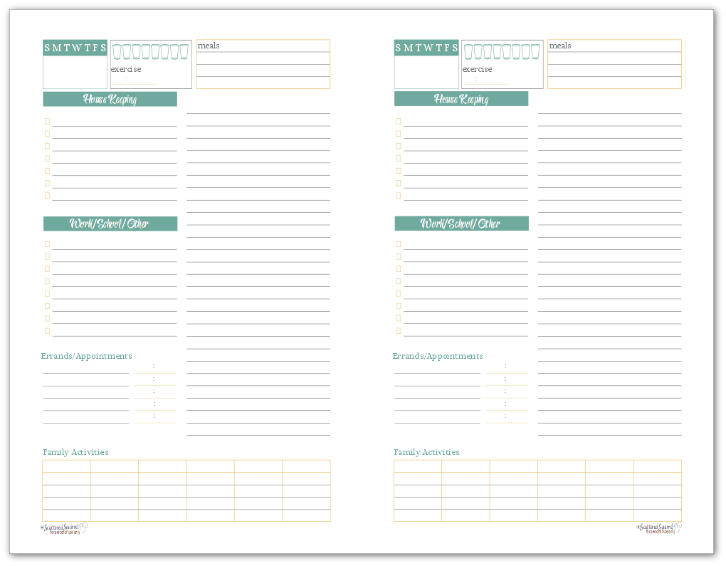 Sunshine Skies Daily Planner or Task List in Half-Size