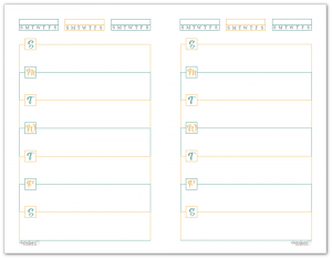 Half-Size Sunshine Skies Horizontal Single Page Weekly Planner