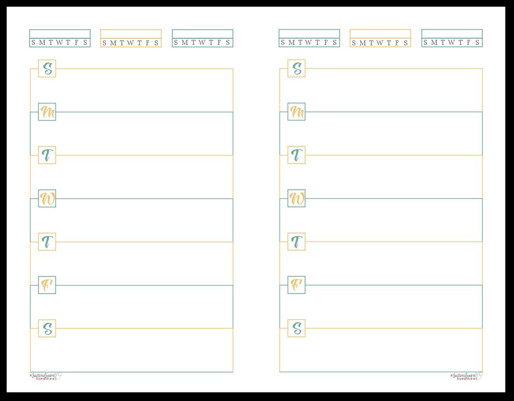Half-Size Sunshine Skies Horizontal Single Page Weekly Planner