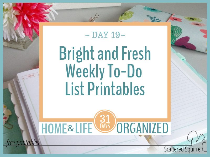 Bright and Fresh Weekly To-Do List Printables