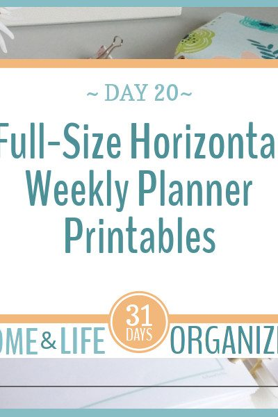 Full-Size horizontal weekly planner printables.