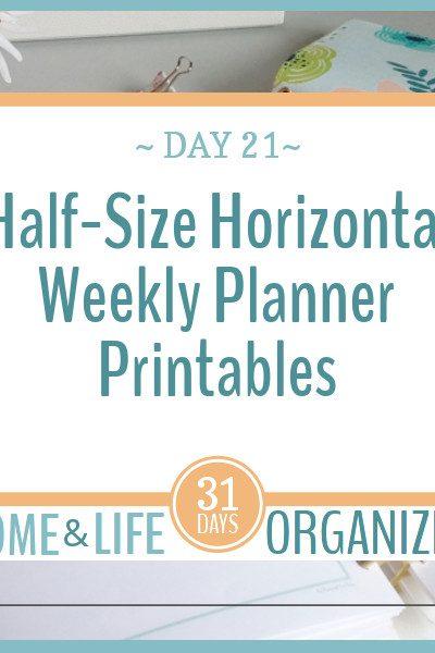 Half-Size horizontal weekly planner printables.