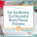 Full-size horizaontal weekly planners that start on Monday.