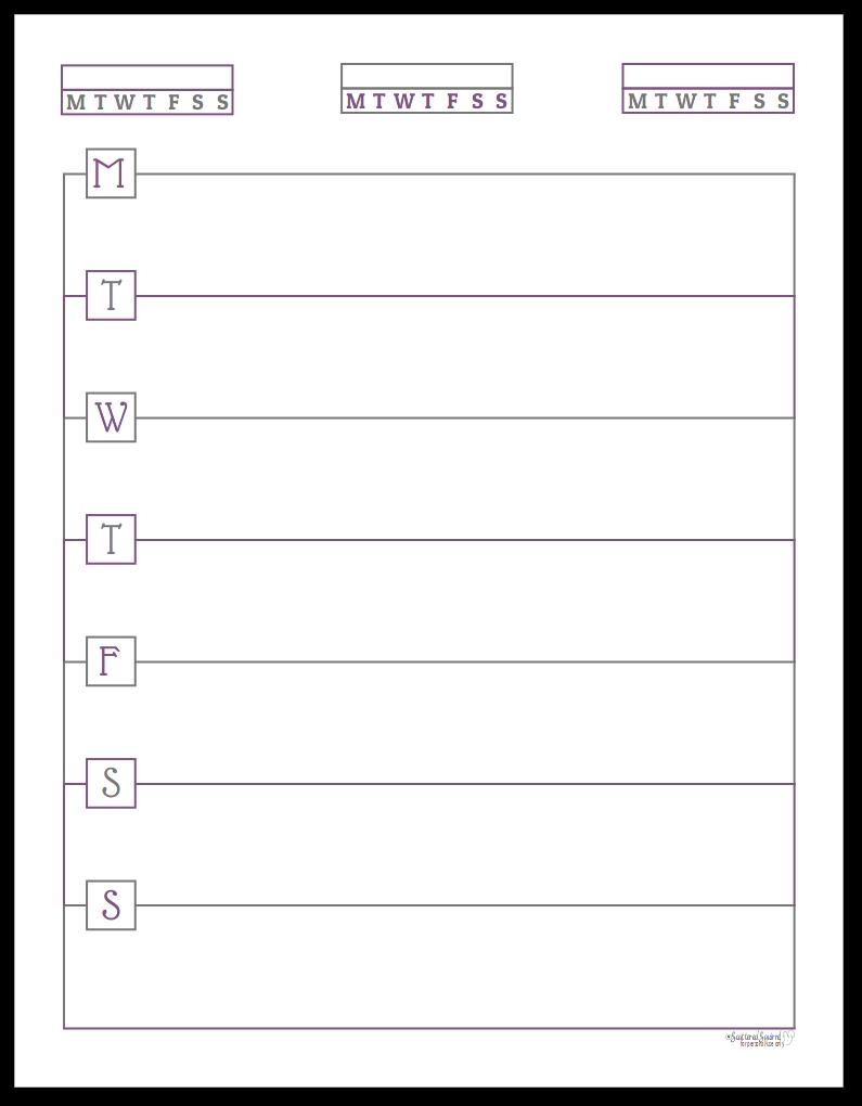 Deep Lilac Monday Start Horizontal Single Page