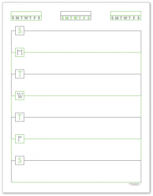 Spring Grass Horizontal Single Page Weekly Planner