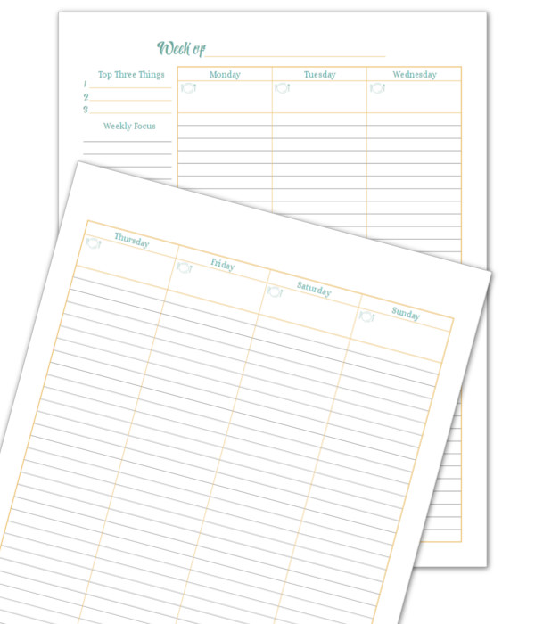 Sunshine Skies 2 Page Weekly Planner Printable