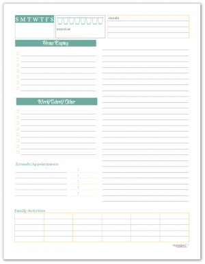 Sunshine Skies Daily Planner or Task List