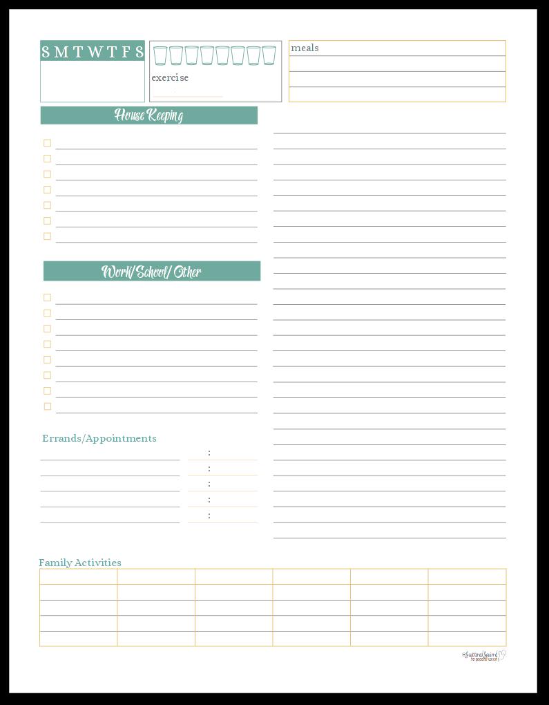 Sunshine Skies Daily Planner or Task List