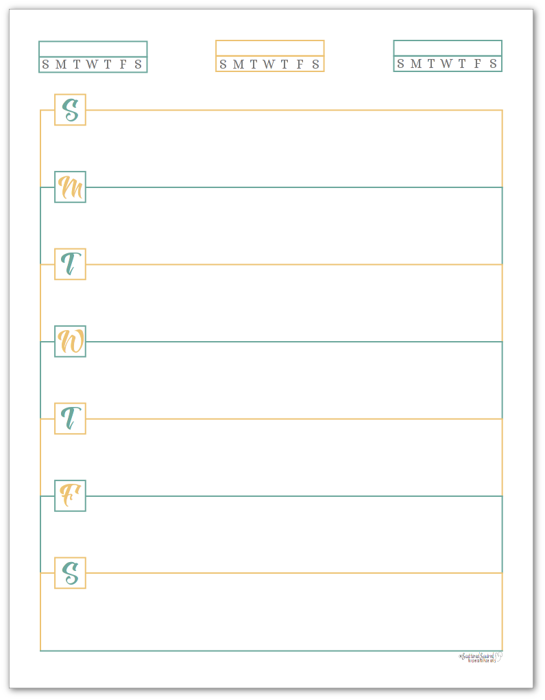 Sunshine Skies Horizontal Single Page Weekly Planner