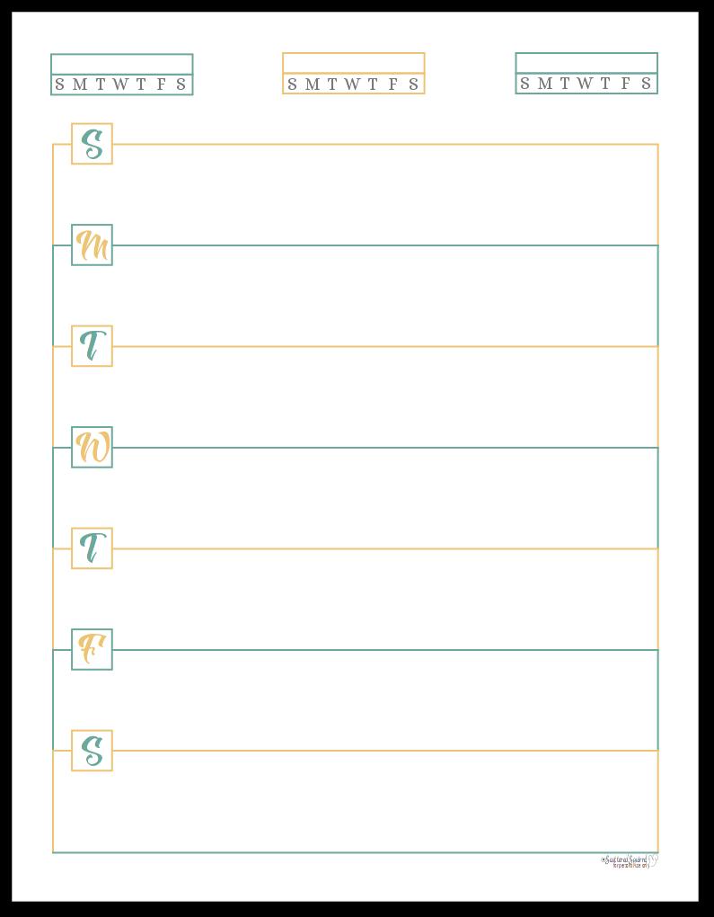Sunshine Skies Horizontal Single Page Weekly Planner