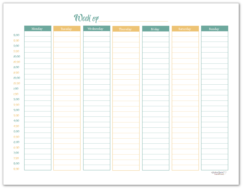 Sunshine Skies Single Page Weekly Planner Printable in Landscape Format