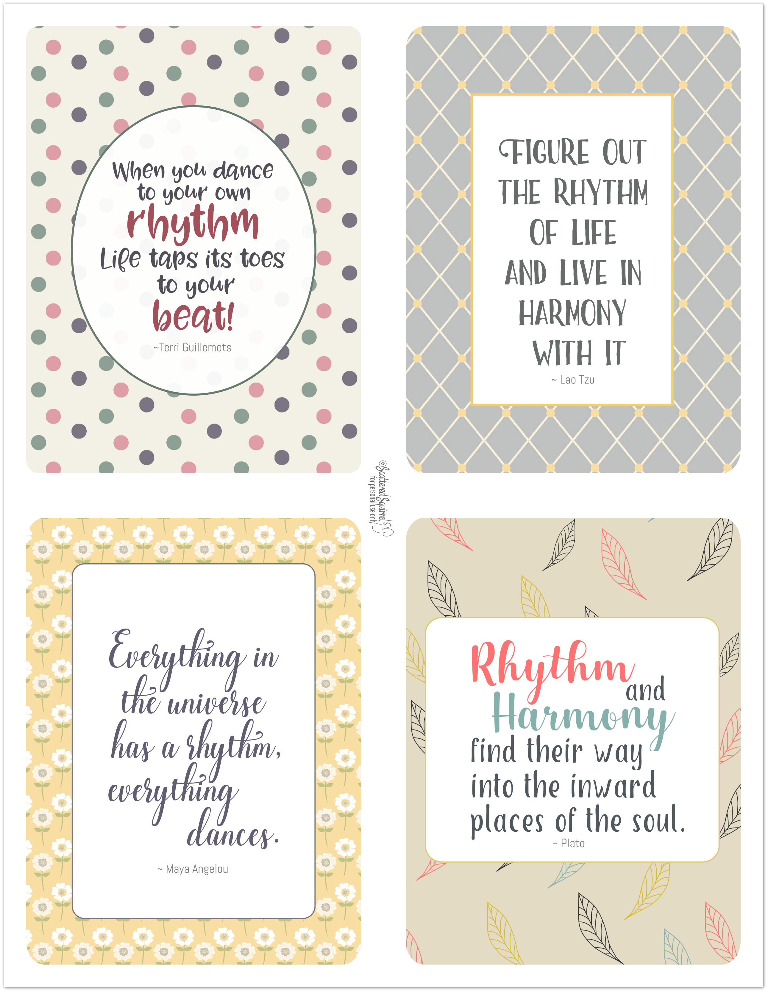 Printable journal cards to use in your planner, scrapbooks, journals and more.