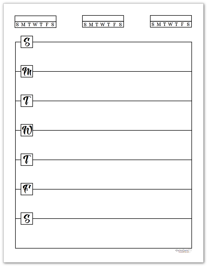 Free Black And White Weekly Planner Printables