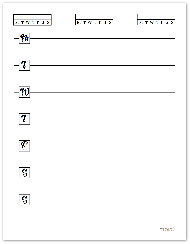 Monday Start, Single Page, Horizontal Weekly Planner - Black and White Version of the Sunshine Skies collection.