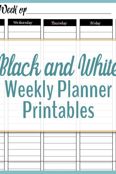 Black and White Weekly Planner Printables are here!