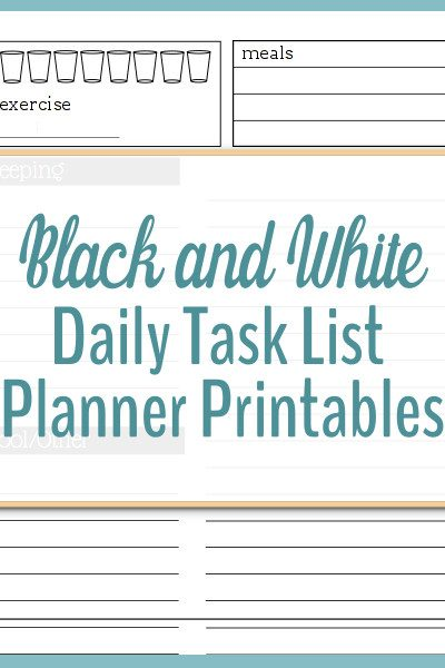 Black and White daily task list planner printables are great for organizing busy days.