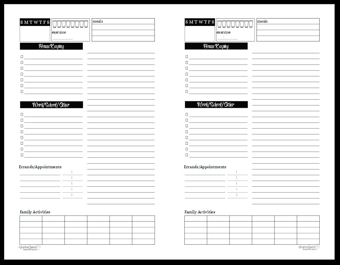Black and White - Half-Size - Sunshine Skies -Daily planner or tasklist