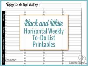 Black and White Horizontal Weekly To-Do List Printables