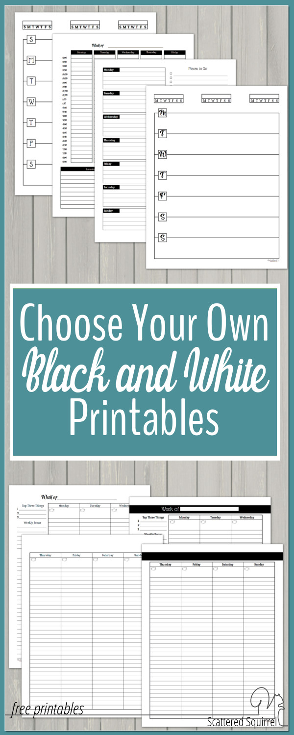 Pick which printables from Scattered Squirrel you would like to see have a black and white option.