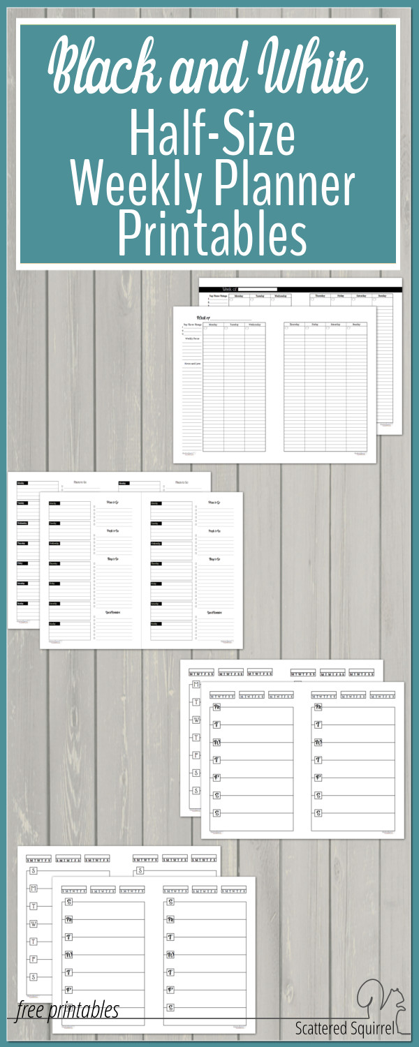 Free Black and White Half-Size Weekly Planner Printables are ready to be downloaded! These will fit most A5 planners and mini binders.