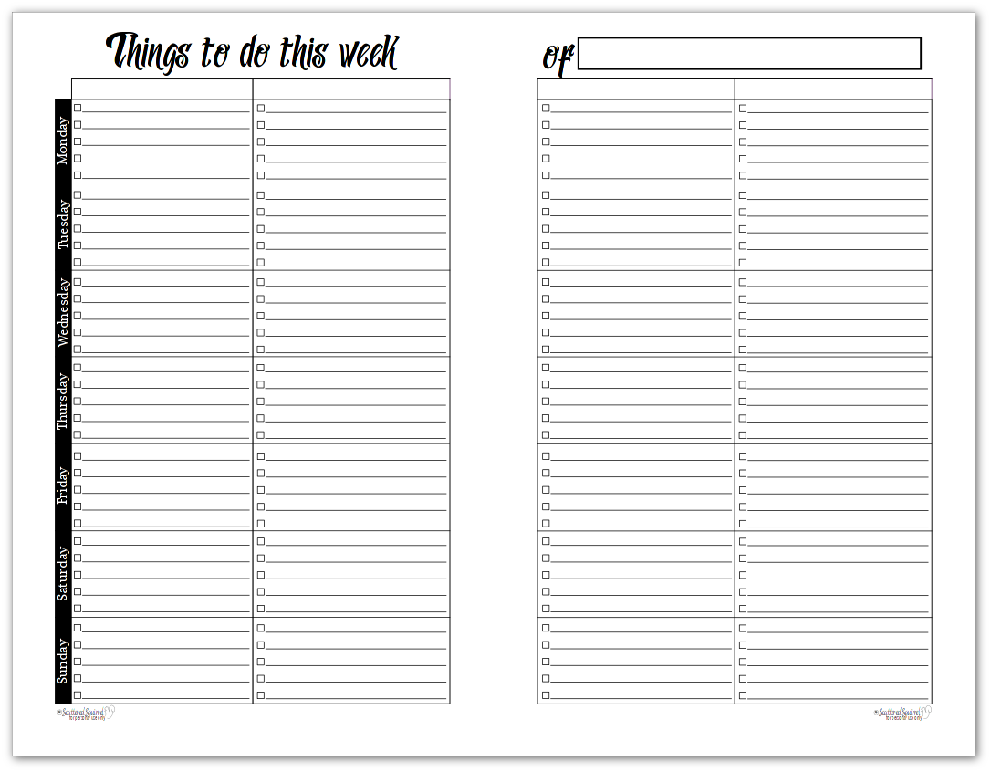 Half-Size Black and White Version of the Sunshine Skies Horizontal Weekly To-Do List Planner
