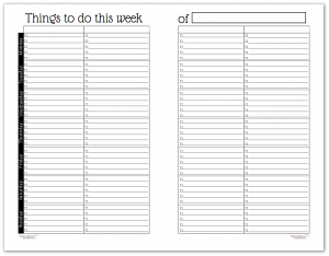 Half-Size Black and White Version of the Understated Rainbow Horizontal Weekly To-Do List Planner
