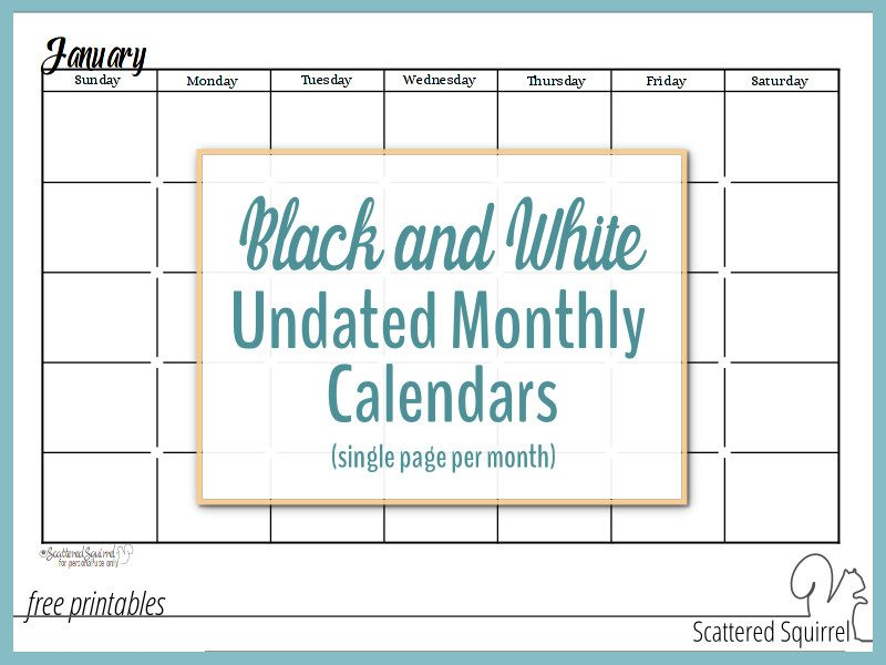 Black and White Undated Monthly Calendars