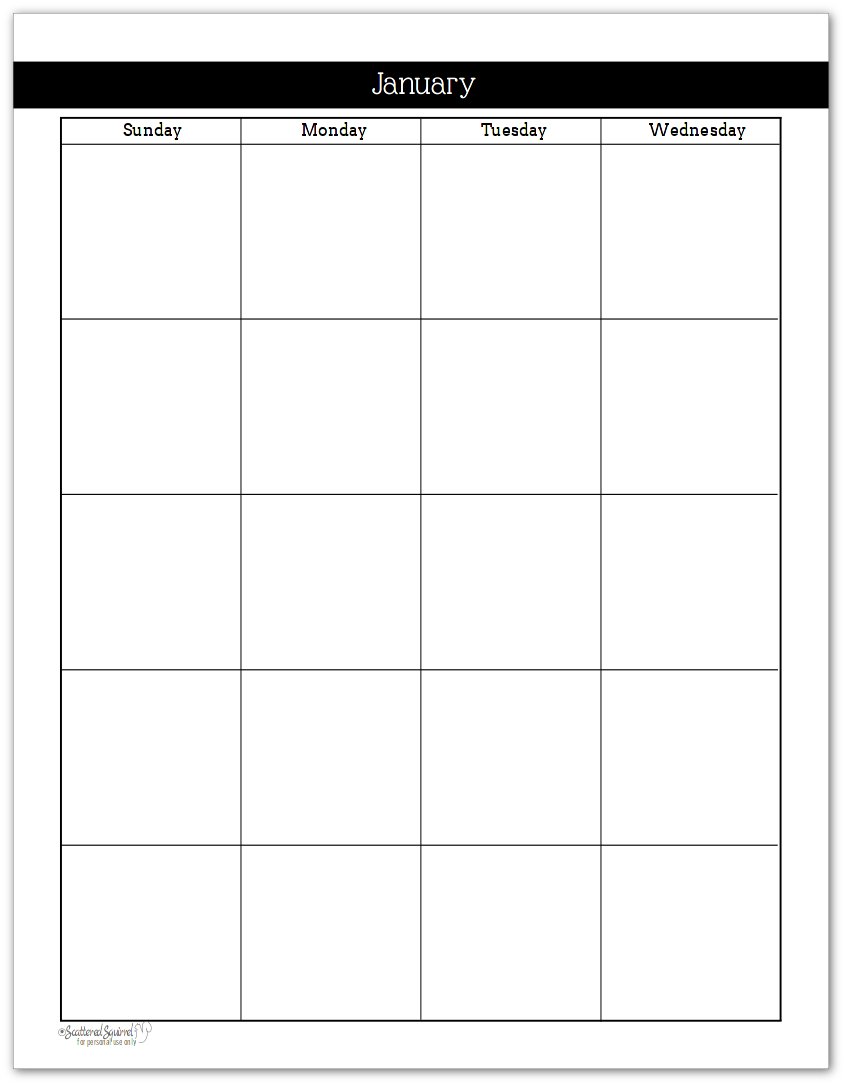 Black and White -Understated Rainbow - 2 Page Per Month Calendar