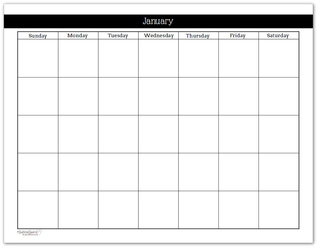 Undated Weekly Calendar : Black and white undated monthly calendars are great