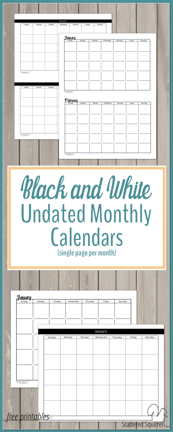 Weekly Calendar Undated : Black and white undated monthly calendars are great