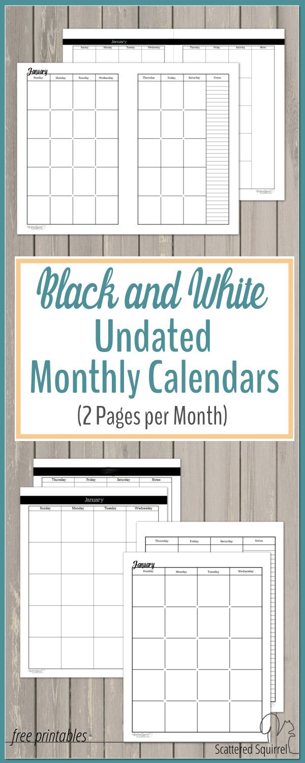Weekly Calendar Undated : Undated black and white calendars featuring two pages per