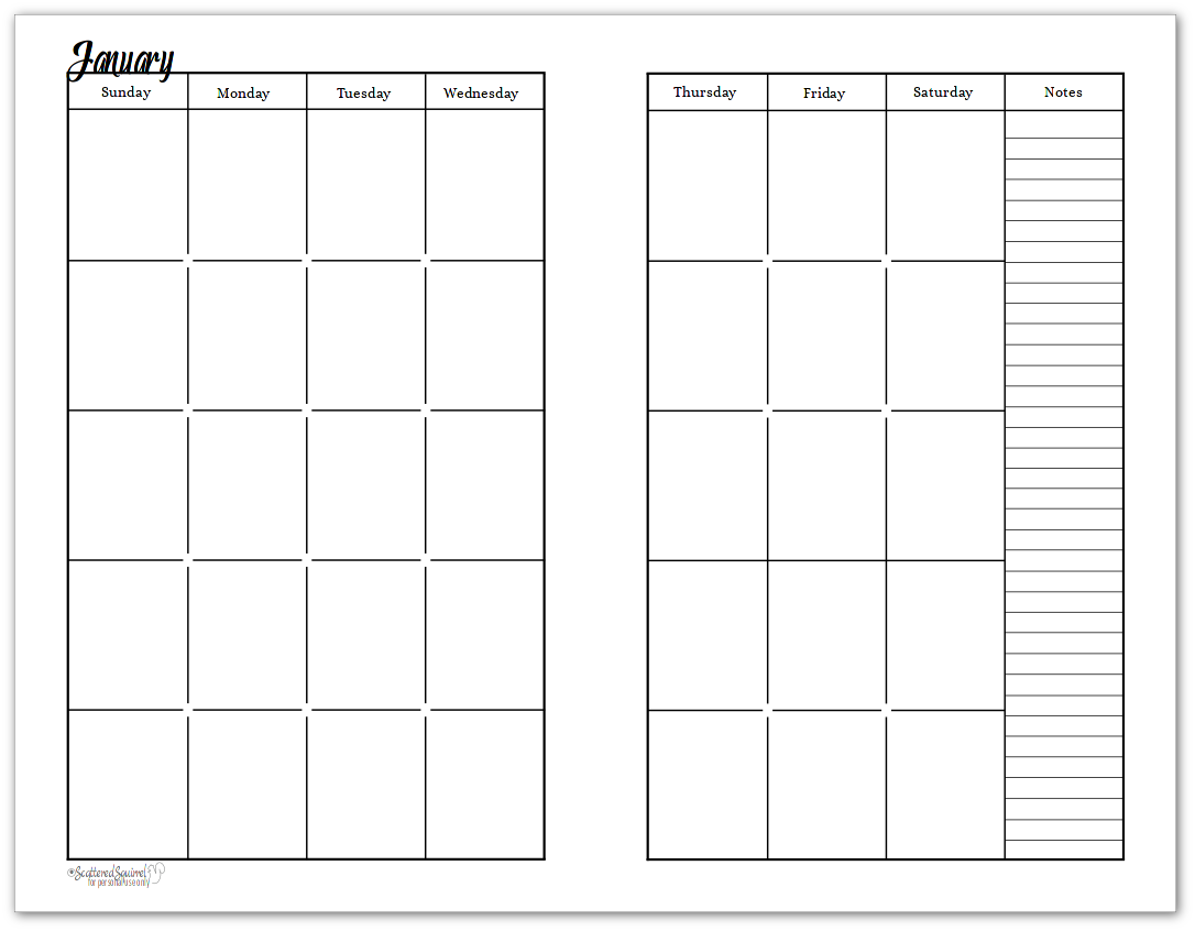 Half-Size - Black and White - Sunshine Skies - 2 Page Per Month Undated