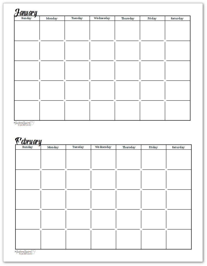 Blank Calendar Clipart Black And White : Black and white undated monthly calendars are great