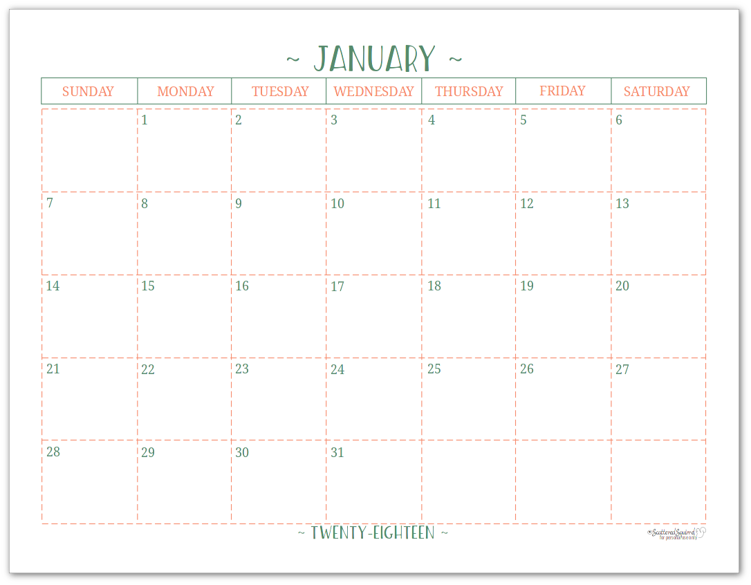 2018 Dated Monthly Calendar - Single Page Per Month