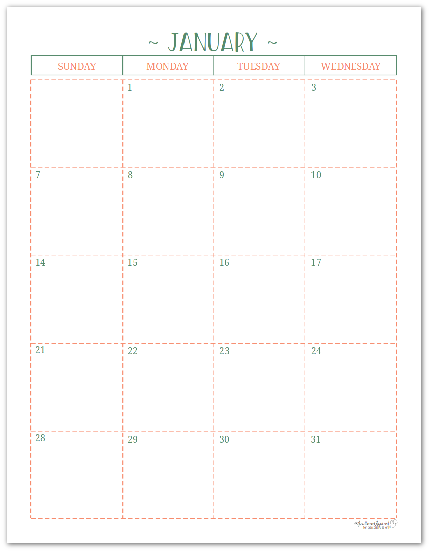 2018 Dated Monthly Calendar - Two Pages Per Month