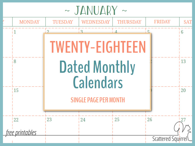 Dated Monthly Calendars  Single Page Edition