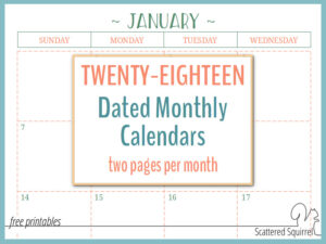 Two Pages Per Month 2018 Dated Calendars