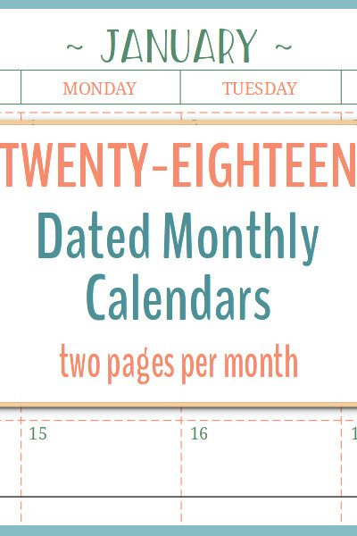 These 2018 dated calendars feature two pages per month in portrait layout.