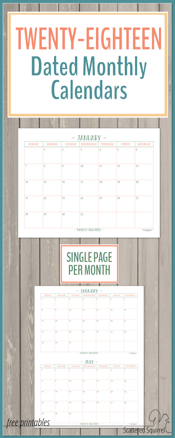 2018 Dated Monthly Calendars - Single Page Edition
