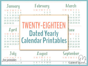2018 Dated Yearly Calendar Printables