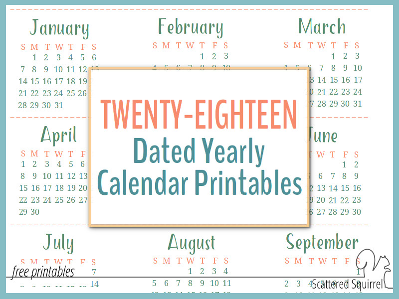 2018 dated yearly calendar printables are a great addition to your planner so you can start