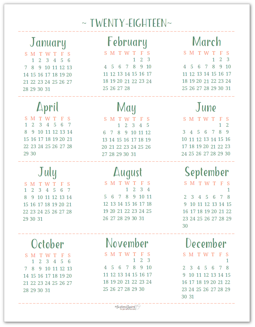 Full-Size (US Letter) 2018 Dated Yearly Calendar Printable for your long term planning.