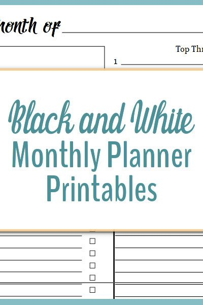 Black and white monthly planner printables make planning your month easy.