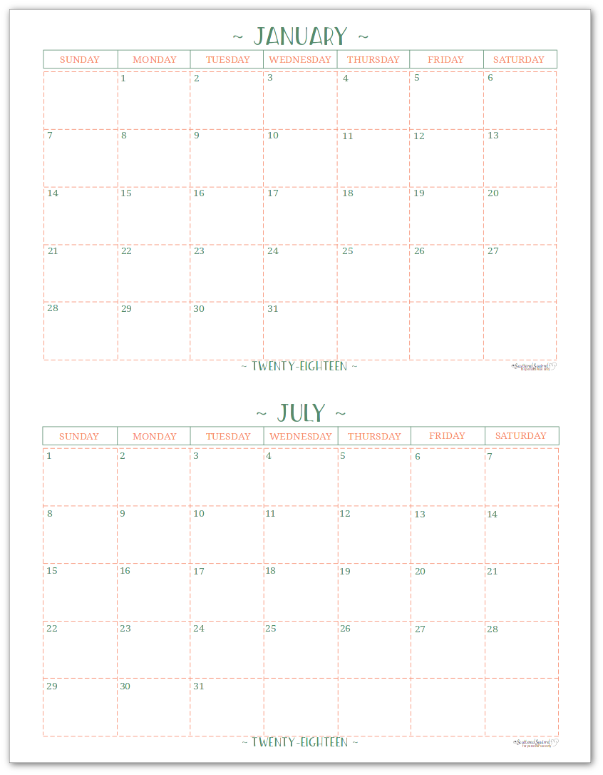 Half-Size - 2018 Dated Monthly Calendar - Single Page Per Month