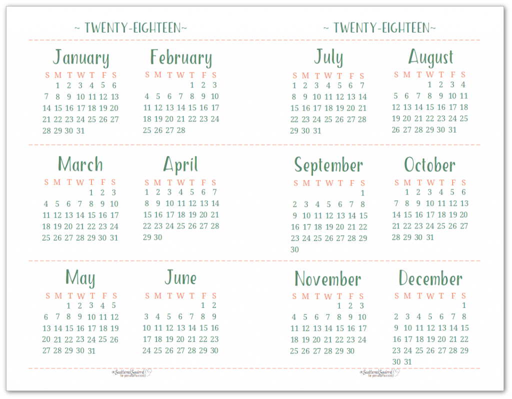 Half-Size, or Half Page 2018 Dated Yearly Calendar Printable